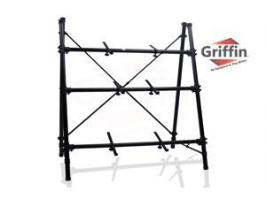 3 Tier Piano Keyboard Stand by GRIFFIN   Triple A-Frame Standing Synthesizer Mixer Workstation Platform   Pro Audio Stage Music Recording Studio Rack Hardware Holder for Digital DJ Controller & Laptop