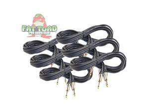 Guitar Cords (6 Pack) Instrument Cable by FAT TOAD | 20FT Wires 1/4 Inch Gold Straight-End for Electric, Acoustic, Bass, Keyboards, Speakers, Sound AMP & Music Recording Studio | Shielded 20 AWG Patch
