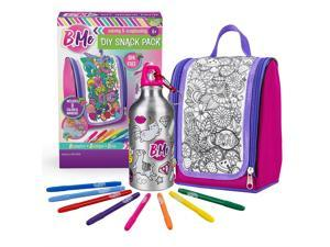 B Me DIY Snack Pack – Color-Your-Own Lunch Bag & Water Bottle Kit for Girls – Arts & Crafts Set w/ BPA-Free Thermos and Keychain, Insulated Lunch Box & 8 Magic Markers – Perfect Birthday & Gift Age 6+