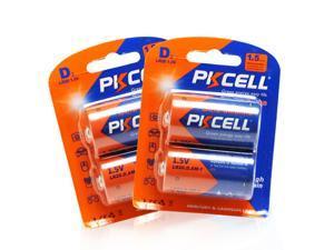 PKCELL 2Packs(4Pcs) LR20 D Size 1.5V Alkaline Battery