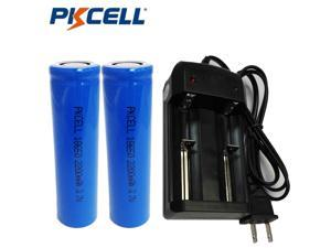 Pkcell 2x Flat Top 18650 3.7V 2200mAh Li-ion Rechargeable Battery & Smart Charger