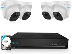Reolink 8CH 5MP Outdoor Security Camera System, 4pcs Smart Person/Vehicle Detection 5MP Wired PoE IP Dome Cameras 8CH 4K 8MP NVR with 2TB HDD for 24/7 Recording, RLK8-520D4-A