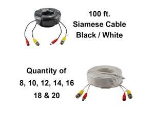 100 Feet BNC Video + DC Power Siamese Cable for CCTV Surveillance Camera System