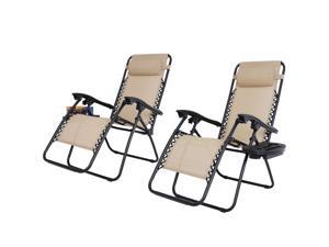 Double Zero Gravity Reclining Chairs Foldable Beach Back Yard Relax Afternoon