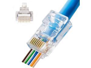 50pcs EZ RJ45 Pass Through Modular Plug Network Cable Connector End 8P8C CAT6