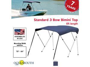 "BIMINI TOP 3 Bow Boat Cover Blue 79""-84"" Wide 6ft Long W/ Rear Poles"