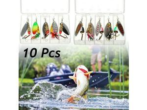 10pcs Fishing Lures Spinnerbaits Bass Trout Salmon Hard Metal Spinner baits Box