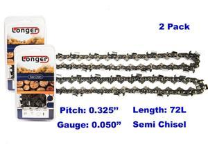 18 Inch 0.325'' Pitch 0.050'' Gauge Semi Chisel Chainsaw Chain 72 Links 2PCS