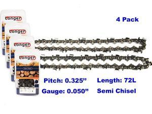 18 Inch 0.325'' Pitch 0.050'' Gauge Semi Chisel Chainsaw Chain 72 Links 4PCS