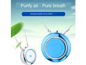 Wearable Necklace Air Purifier Portable Negative Ion Generator USB Blue