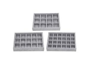 3pcs Gray Velvet Stackable Jewelry Display Tray Case for Jewellery 12 Grid