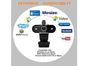 USB HD Webcam Web Cam Camera for PC Laptop Desktop Computer 1080P with Cover