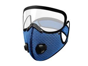 Men Women Face Protective Mask with Eyes Shield Goggle Anti Haze  Dark Blue