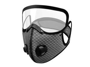 Men Women Face Protective Mask with Eyes Shield Goggle Anti Haze  Dark Gray