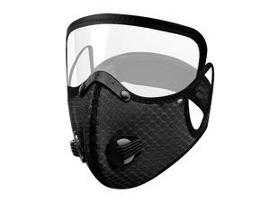 Men Women Face Protective Mask with Eyes Shield Goggle Anti Haze  Black