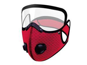 Men Women Face Protective Mask with Eyes Shield Goggle Anti Haze  Red