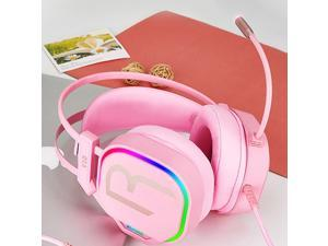 Bass Surround Over Ear Gaming Headset Earpiece for Gamer Pink