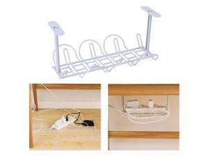 Under Desk Cable Cord Holder Tray Power Strip Management Organizer Gray