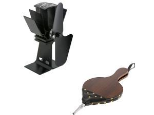 Wooden Fireplace BBQ Camping Hand Bellows Stove Log Fireplace Fan Set
