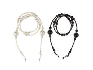 2 Pieces Eyeglass Holder Necklace Sunglass Neck Strap Chain White Black