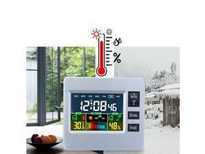 Desktop Colorful LCD Digital Alarm Clock Temperature Humidity Meter Clock