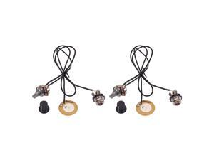2 Pieces Prewired Piezo Pickup with Volume Control Knob for Cigar Box Guitar