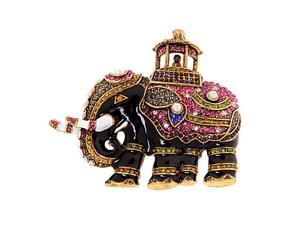 Retro Crystal Rhinestone Indian Elephant Collar Brooch Pin Xmas Wedding Gift