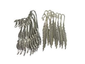 20Pcs Tibetan Silver Beading Mermaid Feather Bookmarks With Loop DIY Making