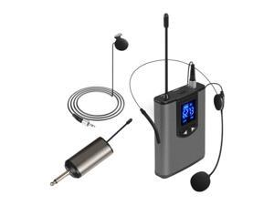 Wireless Headset Microphone/Lavalier Lapel Mic with Bodypack Transmitter