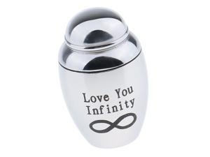 Stainless Steel Funeral Cremation Urn Container Jar Love You Infinity