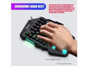Gaming Keyboard 35 Keys 7 Color LED Backlit Wired Single Hand Game Keypad