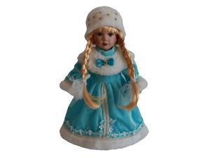 30cm Vintage Style Porcelain Dolls in Blue Dress Hat with Display Stand