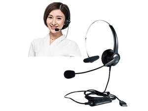 USB Monaural Headset Hands-Free Call Center Headphone Noise Cancelling Mic