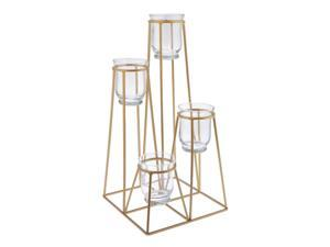 4-Tier Golden Iron Standing Flower Plant Rack with 4 Glass Flower Vases