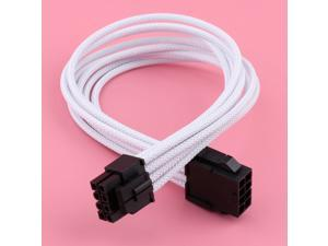 PC 8-pin(4+4Pin) EPS / CPU Sleeved Extension Cable Power Supply White (30cm)