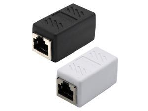 2x RJ45 Female to Female Network Ethernet LAN Connector Adapter white+Black