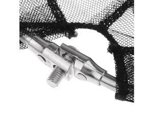 2Pcs Metal Triangle Frame Nylon Fishing Landing Net Head Black Foldable