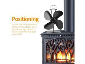 4 blades Heat Powered Stove Fan for Wood Log Burner Fireplace + Hand Bellow