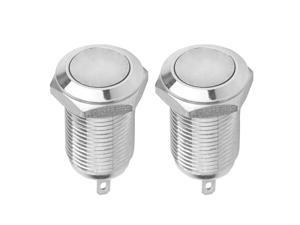 2 pieces 10mm 36V Latching Metal Push Button Switch Flat Head