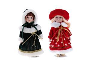 Victorian Porcelain Doll Collectible Girl Figurines With Display Stands 2pcs