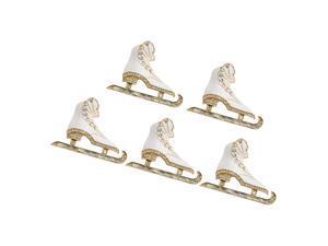 5 Pieces Christmas  Rhinestone Ice Skate Skating Pin Brooch Jewelry 3d White