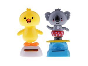 Solar Powered Dancing Flip Flap Toy Gift Car Ornament Bobblehead Toy 2-set