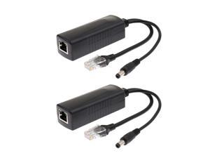 2Piece Power Over Ethernet Passive 48V to 12V 2A PoE Adapter Splitter Cable