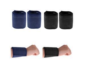 2 Pairs Sports Wrist Straps Wrist Protector Wraps Brace Sleeve Blue&Black