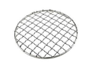 Portable Firewood BBQ Grill Cooking Pot Rack Barbecue Mesh Mat Silver Round