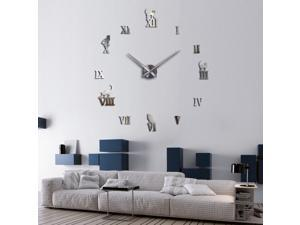 DIY 3D Roman Numerals Wall Stickers Clock 3D Mirror Surface Sticker Silver