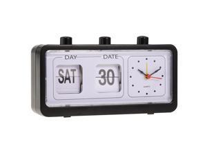 Retro Fashion Flip Clock Digtal Flip Day Date Time Display Clock  Black