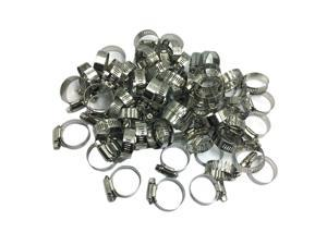 100 Pieces Stainless Steel Hose Clamp Jubilee Hose Clamps Tool Kit Silver