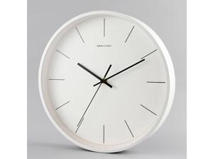 Minimalist Modern Style 12 Inch Silent Non Ticking Quartz Wall Clock White