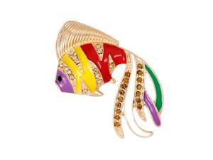 Trendy Alloy Rhinestone Goldfish Brooch Pin for Women Jewelry Gifts Yellow